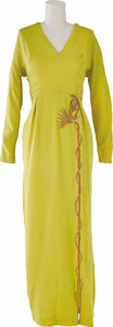 """Movie/TV Memorabilia:Costumes, """"Cleopatra"""" Costume Gown. Mustard-yellow full-length gown with Egyptian-themed embroidery worn by Elizabeth Taylor in the ep..."""