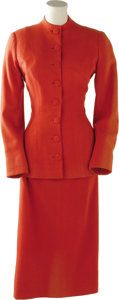 Movie/TV Memorabilia:Costumes, Claudette Colbert Costume Suit. Orange costume consisting of woolcoat and skirt worn by Claudette Colbert in an unknown Par... (1 )