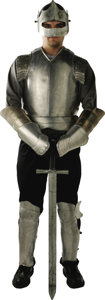 """Movie/TV Memorabilia:Costumes, """"First Knight"""" Costume Armor. Prop plate armor and sword from the1995 Arthurian epic that starred Sean Connery, Julia Ormo..."""