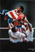 "Movie/TV Memorabilia:Original Art, An Oversized Oil Painting Related to ""Rocky IV,"" 1986...."