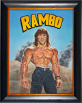 "Movie/TV Memorabilia:Original Art, An Oil Painting by Bill Pruitt Related to ""Rambo III,"" 1988...."
