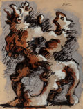 Fine Art - Work on Paper:Watercolor, Jacques Lipchitz (French, 1891-1973). Untitled (Minotaur),circa 1945. Ink and gouache on paper. 24-7/8 x 19 inches (63....