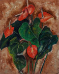 Impressionism & Modernism:Abstraction, Blanche Lazzell (American, 1878-1956). Red Anthurium. Oil oncanvasboard. 20 x 16 inches (50.8 x 40.6 cm). Signed lower ...