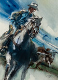 Mainstream Illustration, Robert Peak (American, 1927-1992). The Marlboro Man, PhillipMorris advertisement, circa 1970. Watercolor and charcoal o...
