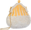 """Luxury Accessories:Bags, Judith Leiber Half Bead Silver Crystal Chatelaine MinaudiereEvening Bag. Very Good to Excellent Condition. 4.5""""Width..."""