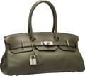 "Luxury Accessories:Bags, Hermes 42cm Vert Olive Clemence Leather JPG Shoulder Birkin I Bagwith Palladium Hardware. Very Good Condition. 16.5""..."