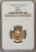 1999-W $10 Quarter-Ounce Gold Eagle With W, Unfinished Proof Dies, MS66 NGC. NGC Census: (9/2004). PCGS Population (29/2...