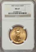 Modern Bullion Coins: , 1987 G$25 Half-Ounce Gold Eagle MS67 NGC. NGC Census: (16/2160). PCGS Population (31/551). Numismedia Wsl. Price for probl...