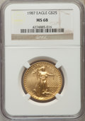 Modern Bullion Coins: , 1987 G$25 Half-Ounce Gold Eagle MS68 NGC. NGC Census: (63/2097). PCGS Population (100/451). Numismedia Wsl. Price for prob...