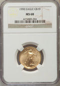 Modern Bullion Coins: , 1990 $10 Quarter-Ounce Gold Eagle MS68 NGC. NGC Census: (29/1854). PCGS Population (339/696). Numismedia Wsl. Price for pr...