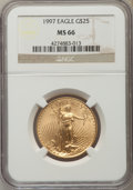 1997 $25 Half-Ounce Gold Eagle MS66 NGC. NGC Census: (2/1889). PCGS Population (4/640). Numismedia Wsl. Price for proble...