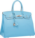 Luxury Accessories:Bags, Hermes Limited Edition Candy Collection 35cm Blue Celeste & Mykonos Epsom Leather Birkin Bag with Palladium Hardware. Exce...