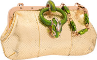 """Gucci Gold Metallic Snakeskin Evening Bag by Tom Ford Good Condition 9.5"""" Width x 5"""" Height x 1.5"""