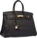 "Luxury Accessories:Bags, Hermes 35cm Black Togo Leather Birkin Bag with Gold Hardware.Good Condition. 14"" Width x 10"" Height x 7"" Depth...."