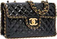 """Chanel Black Quilted Patent Leather Maxi Single Flap Bag with Gold Hardware Good Condition 13"""" Wi"""