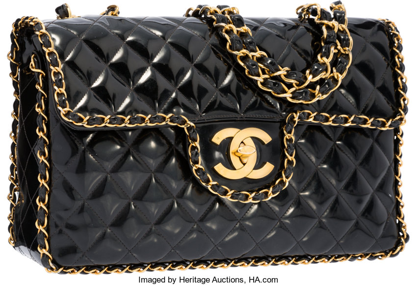 139b6acdadf1 ... Luxury Accessories:Bags, Chanel Black Quilted Patent Leather Maxi  Single Flap Bag with GoldHardware ...