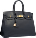 "Luxury Accessories:Bags, Hermes 35cm Blue Marine Courchevel Leather Birkin Bag with GoldHardware. Good to Very Good Condition. 14"" Width x10""..."