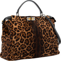 Fendi Leopard Ponyhair & Black Patent Leather Peekaboo Bag with Shoulder Strap Very Good to Excellent Condition