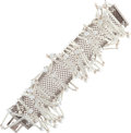 "Luxury Accessories:Accessories, Chanel Silver & Glass Pearl Square Bracelet. Good to Very Good Condition. 7"" Length. ..."