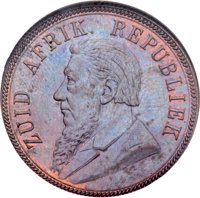 South Africa: Republic Penny 1893 MS64 Brown NGC