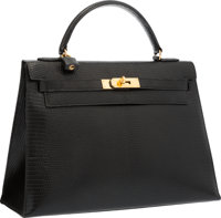 """Hermes 32cm Black Lizard Sellier Kelly Bag with Gold Hardware Good to Very Good Condition 12.5"""" W"""