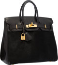Luxury Accessories:Bags, Hermes Limited Edition 28cm Black Ponyhair & Evercalf Leather Troika HAC Birkin Bag with Gold Hardware. Good Condition. ...