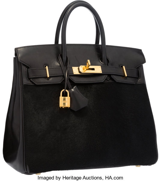 8ceb0f3497b Hermes Limited Edition 28cm Black Ponyhair   Evercalf