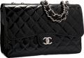 "Luxury Accessories:Bags, Chanel Black Sparkle Quilted Patent Leather Jumbo Single Flap Bag with Silver Hardware. Excellent Condition. 12"" Width..."