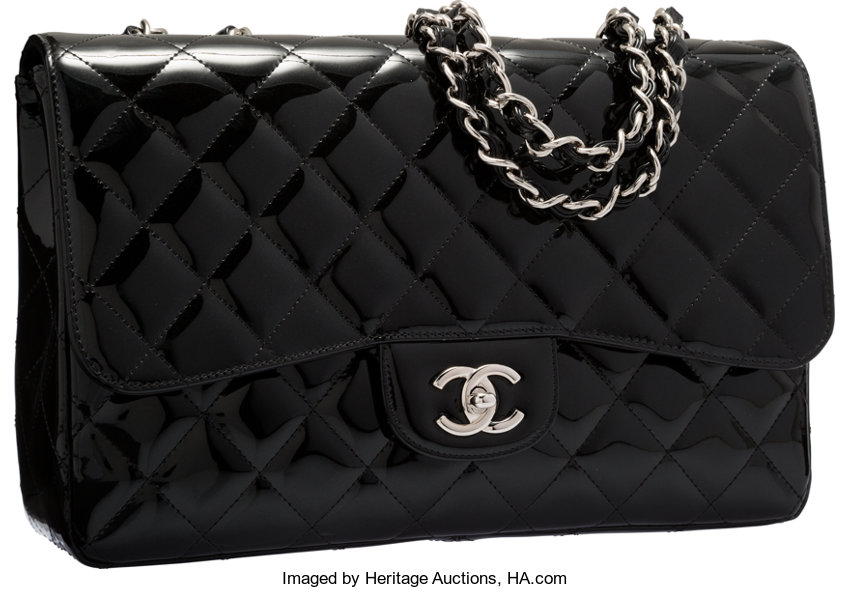 ff5da71feef8 ... Luxury Accessories:Bags, Chanel Black Sparkle Quilted Patent Leather Jumbo  Single Flap Bagwith Silver ...