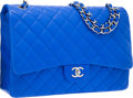 "Luxury Accessories:Bags, Chanel Blue Quilted Lambskin Leather Maxi Single Flap Bag withSilver Hardware. Excellent Condition. 13"" Width x 9""He..."