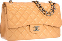 Chanel Bronze Metallic Quilted Leather Jumbo Double Flap Bag with Gunmetal Hardware Excellent to Pristine Condi
