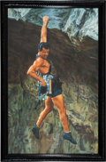 "Movie/TV Memorabilia:Original Art, An Oil on Canvas Painting Related to ""Cliffhanger.""..."