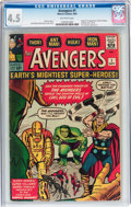 Silver Age (1956-1969):Superhero, The Avengers #1 (Marvel, 1963) CGC VG+ 4.5 Off-white pages....