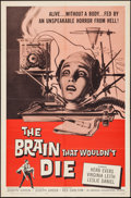 """Movie Posters:Horror, The Brain That Wouldn't Die (American International, 1962). One Sheet (27"""" X 41""""). Horror.. ..."""