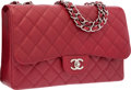 "Luxury Accessories:Bags, Chanel Red Quilted Caviar Leather Jumbo Single Flap Bag with SilverHardware. Excellent to Pristine Condition. 12"" Wid..."