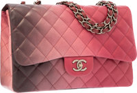 Chanel Red & Black Ombre Quilted Lambskin Leather Jumbo Single Flap Bag with Gunmetal Hardware Excellent to Pri