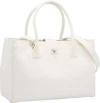 "Chanel White Leather Cerf Tote Bag with Silver Hardware Excellent to Pristine Condition 14"" Width"