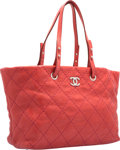 "Luxury Accessories:Bags, Chanel Red Quilted Distressed Leather Tote Bag with SilverHardware. Excellent to Pristine Condition. 14"" Width x10.5..."