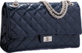 "Luxury Accessories:Bags, Chanel Navy Blue Quilted Patent Leather Reissue Jumbo Double FlapBag with Silver Hardware. Very Good Condition. 11""W..."