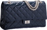 Chanel Navy Blue Quilted Patent Leather Reissue Jumbo Double Flap Bag with Silver Hardware Very Good Condition<...