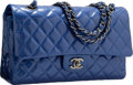 Luxury Accessories:Bags, Chanel Pearlescent Blue Quilted Patent Leather Medium Double FlapBag with Gunmetal Hardware. Excellent to Pristine Condit...