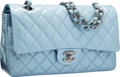 Luxury Accessories:Bags, Chanel Pearlescent Light Blue Quilted Patent Leather Medium DoubleFlap Bag with Silver Hardware. Excellent Condition. ...