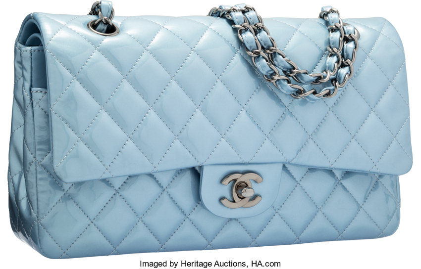 ... Luxury Accessories Bags, Chanel Pearlescent Light Blue Quilted Patent  Leather Medium DoubleFlap Bag with ... 03ec9a7dab