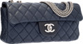 "Luxury Accessories:Bags, Chanel Navy Blue Quilted Lambskin Leather East West Single Flap Bagwith Silver Hardware. Very Good Condition. 10"" Wid..."