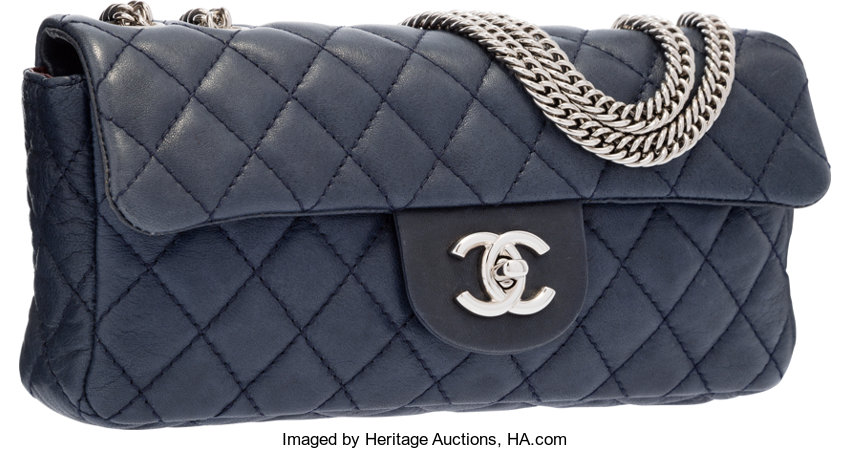 da3e89b193a ... Luxury Accessories Bags, Chanel Navy Blue Quilted Lambskin Leather East  West Single Flap Bagwith ...