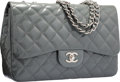 "Luxury Accessories:Bags, Chanel Gray Quilted Patent Leather Jumbo Single Flap Bag withSilver Hardware. Excellent to Pristine Condition. 12""Wi..."