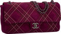 "Luxury Accessories:Bags, Chanel Purple Quilted Suede East West Single Flap Bag with GunmetalHardware. Excellent Condition. 13"" Width x 7"" Heig..."