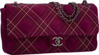 Chanel Purple Quilted Suede East West Single Flap Bag with Gunmetal Hardware Excellent Condition