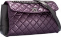 "Luxury Accessories:Bags, Chanel Purple & Gray Quilted Leather Flap Bag with SilverHardware. Excellent Condition. 12"" Width x 7.5"" Height x4"" ..."