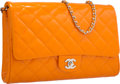 "Luxury Accessories:Bags, Chanel Orange Quilted Patent Leather Flap Bag with Silver Hardware.Excellent to Pristine Condition. 11"" Width x 7..."